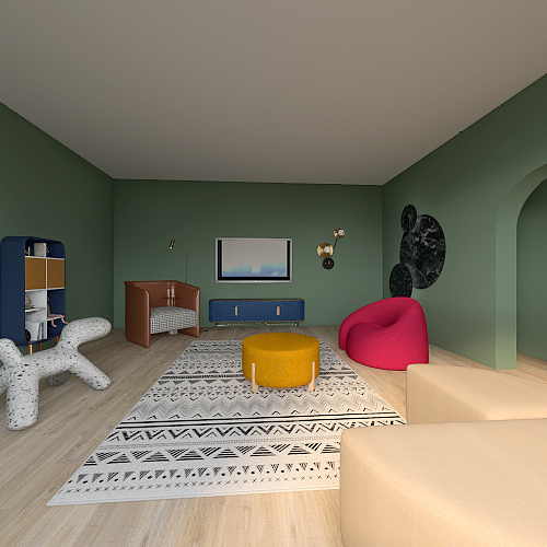complementary Colored Space Interior Design Render
