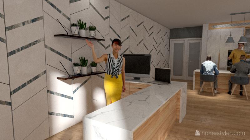 Modern Café Interior Design Render