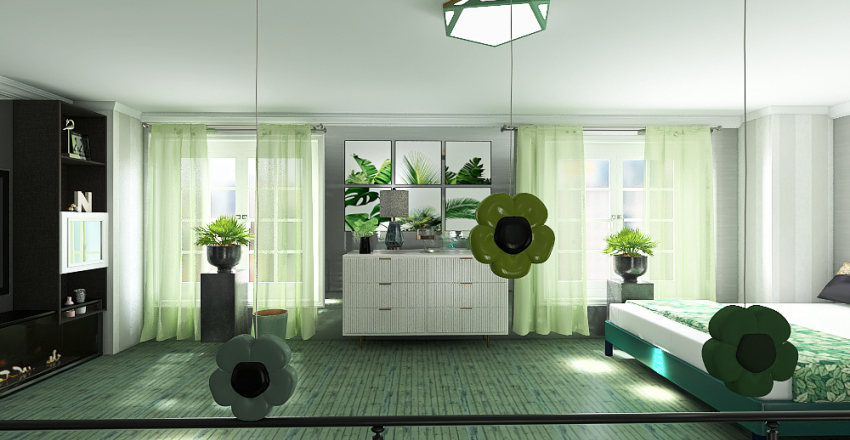 Green Bedroom And Bathroom Interior Design Render