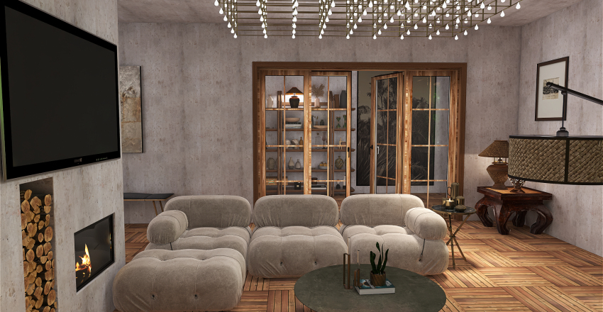 concrete wood Interior Design Render