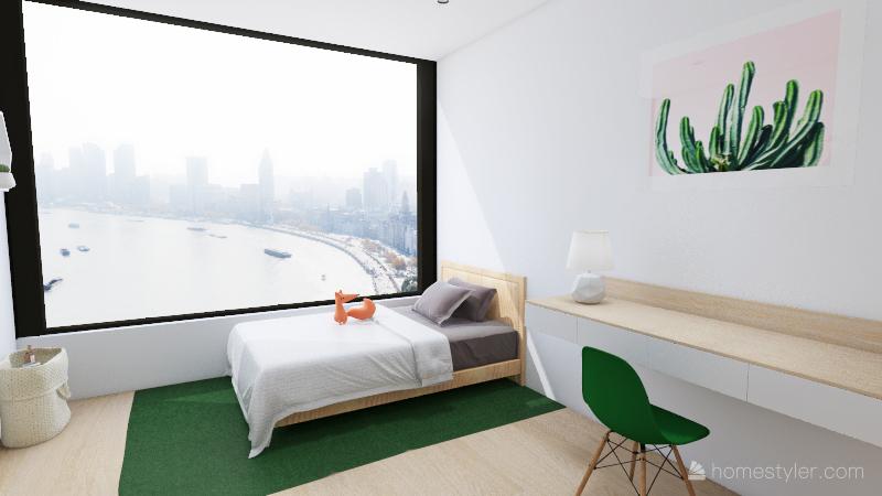 Peacock green appartement Interior Design Render