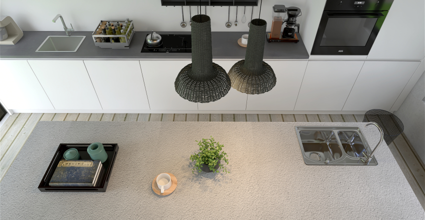 concrete with pink touches Interior Design Render