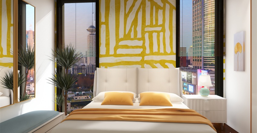 Colors Blue and Yellow Interior Design Render