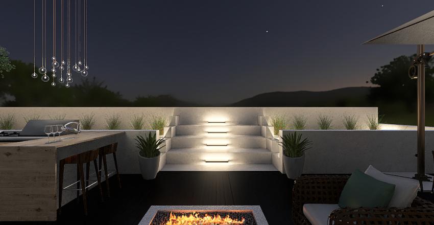 Modern Succulent Backyard Interior Design Render