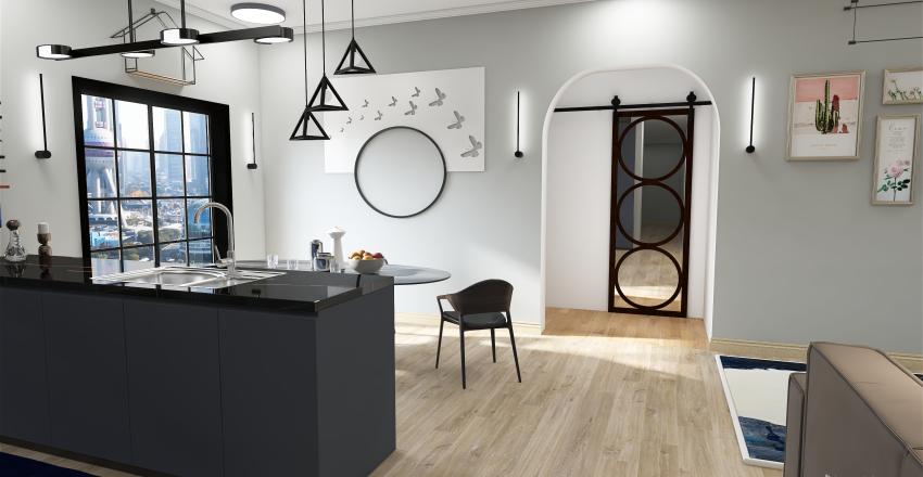 Kitchen and Living room Interior Design Render