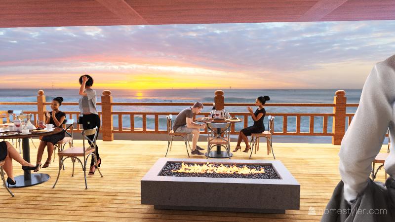 Beach restaurant Interior Design Render