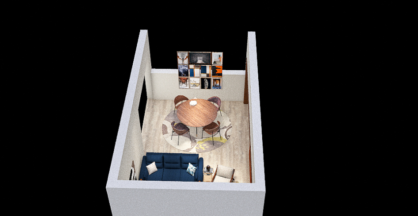 sala TV comedor boceto 1 Interior Design Render