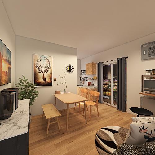 One room apt - Mediterranean Interior Design Render
