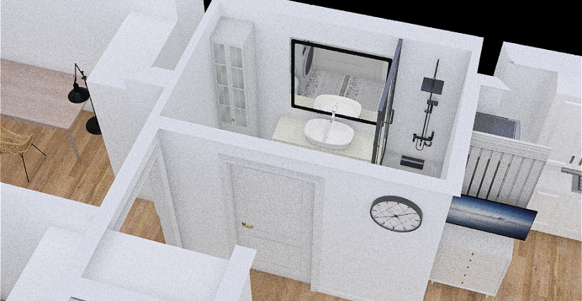 łazienka suszarka nad pralka Interior Design Render