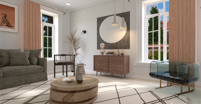 Living/Bedroom Design. (Brighten up your day! Live fresh!) Interior Design Render