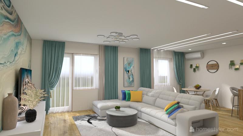 гостинная в скандинавском стиле Interior Design Render