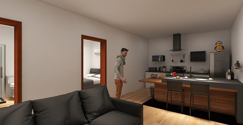 Apartamento Simples, para 1 casal. Interior Design Render