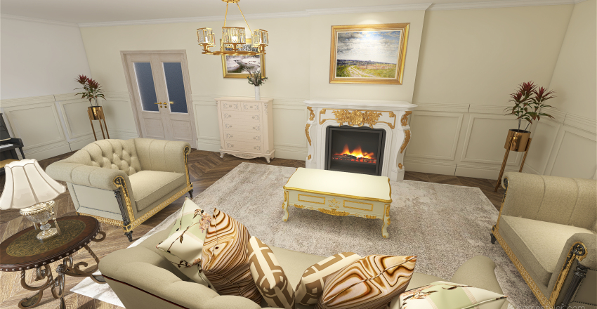 french style room Interior Design Render