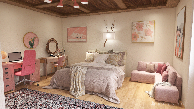 pale pink bedroom Interior Design Render