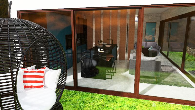 casa minimalista en el bosque Interior Design Render