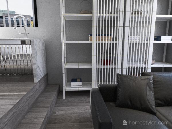 grey livingroom/kitchen Interior Design Render