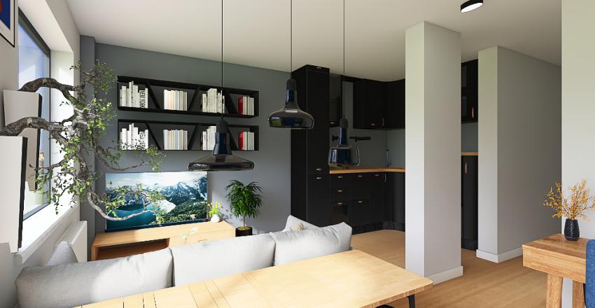 salon gotowa sciana z fotelem Interior Design Render
