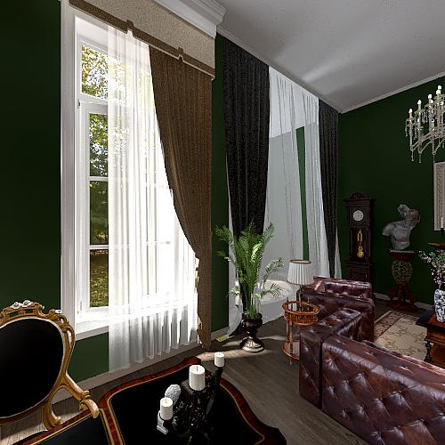 Vintage Office Interior Design Render
