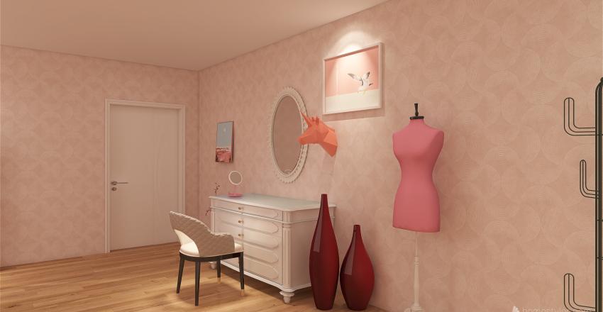 Bedroom with Bathroom Interior Design Render