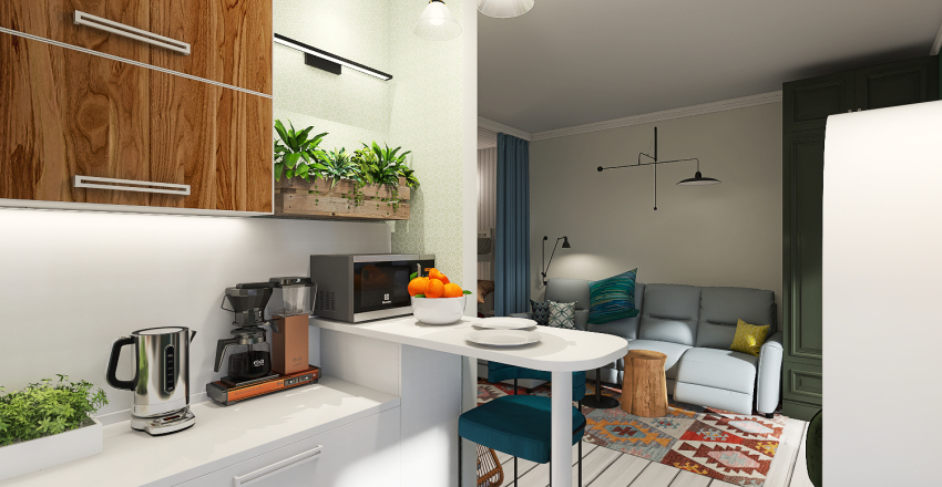 1ком квартира вар2 Interior Design Render