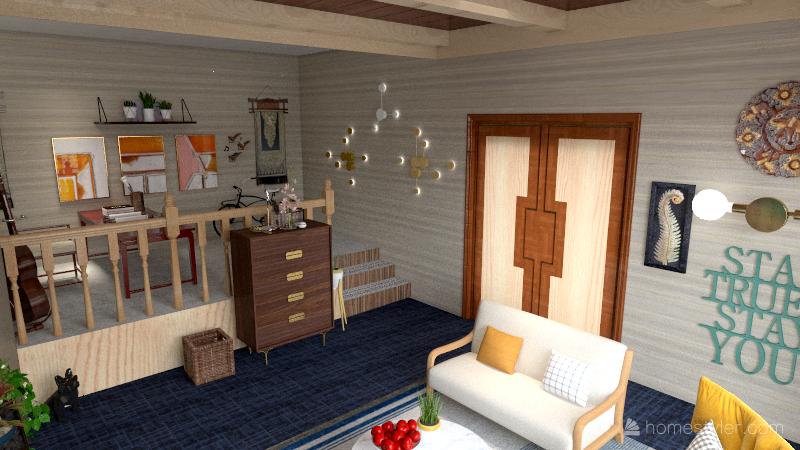 Bohemian style living room Interior Design Render