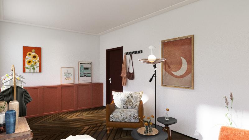 Students room Interior Design Render