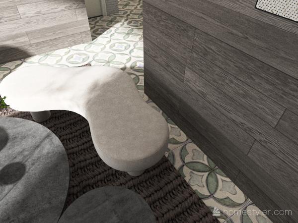 cream apartment w/ pale green accents Interior Design Render