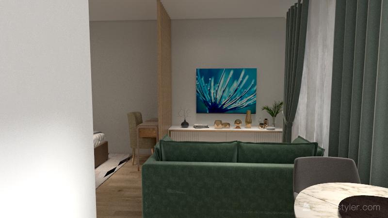 2 Однокомнатная квартира Interior Design Render