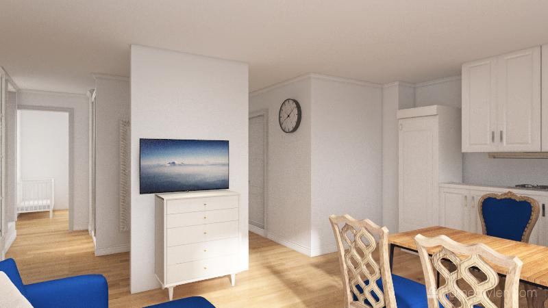 tv w salonie Interior Design Render