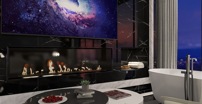Classic Black and White Hotel Room Interior Design Render
