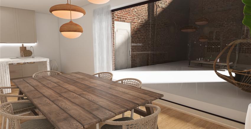 boho rattan Interior Design Render