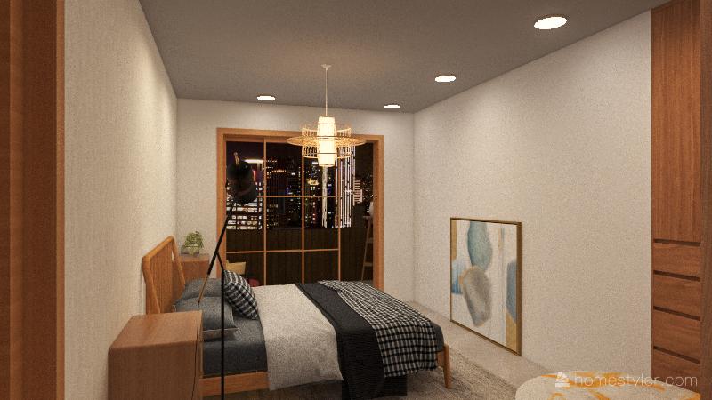 Apartment inspired in asian culture Interior Design Render