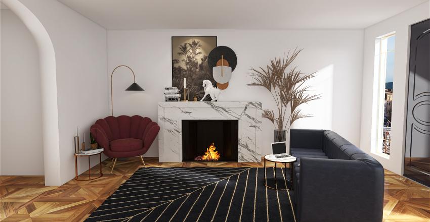 art deco flat Interior Design Render