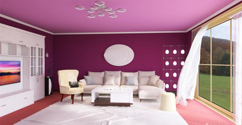 Livingroom whitepink Interior Design Render