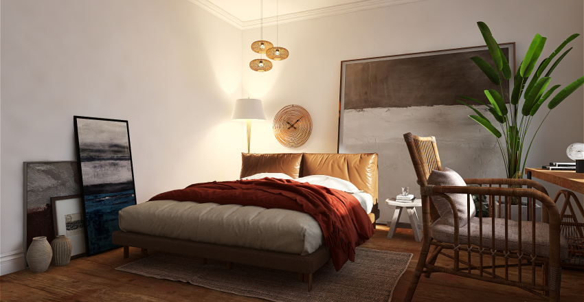 #modernbohemian Bedroom with Working Area Interior Design Render
