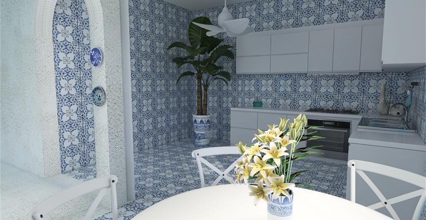 Casa mediterránea griega Interior Design Render