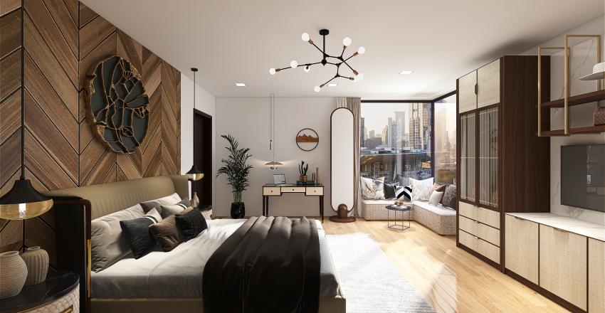Wood accent Bedroom  Interior Design Render