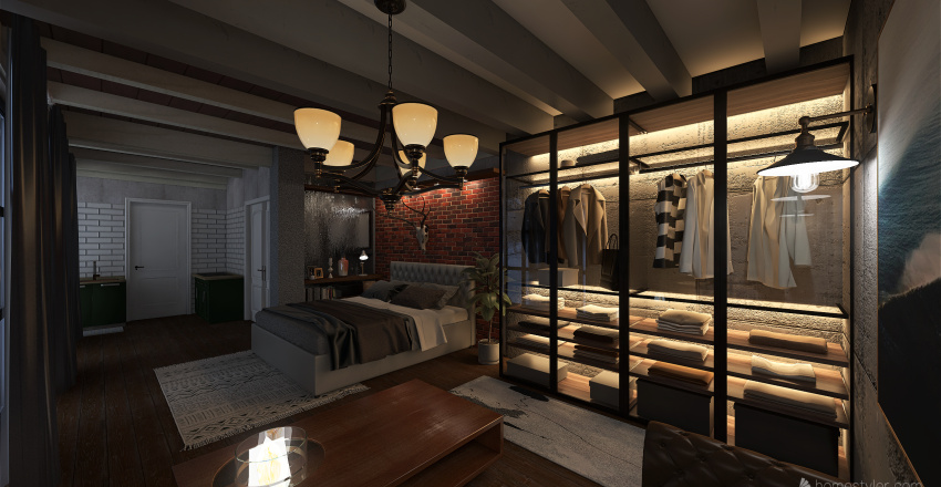 Quarto de Hotel na Neve Interior Design Render