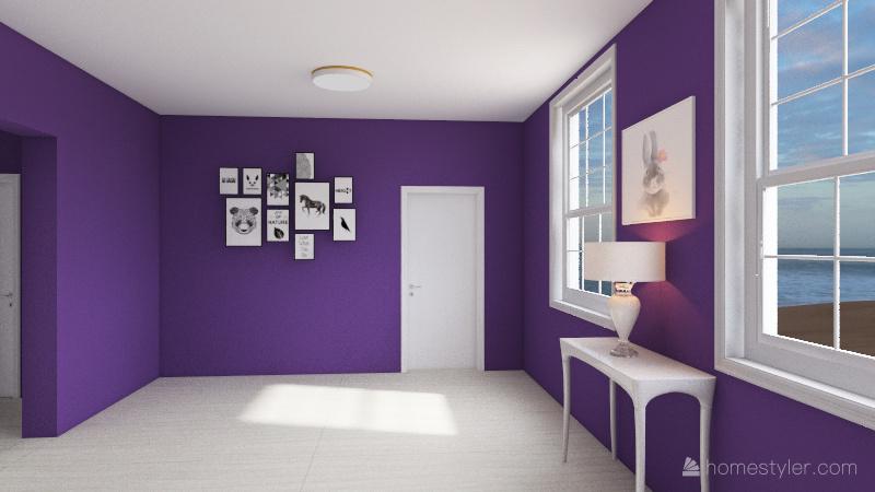 Purple costal home Interior Design Render