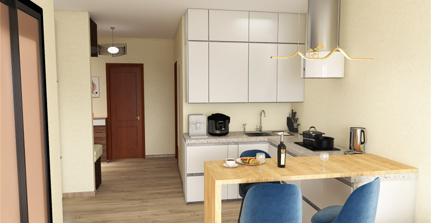 One bedroom flat Interior Design Render