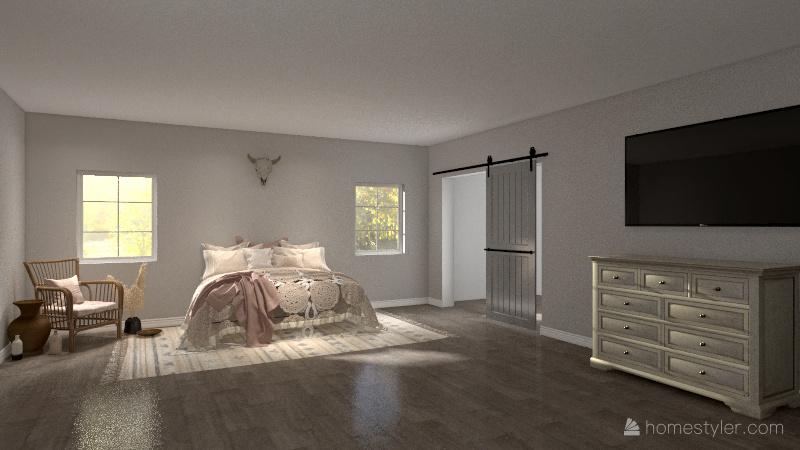 Boho chic room Interior Design Render