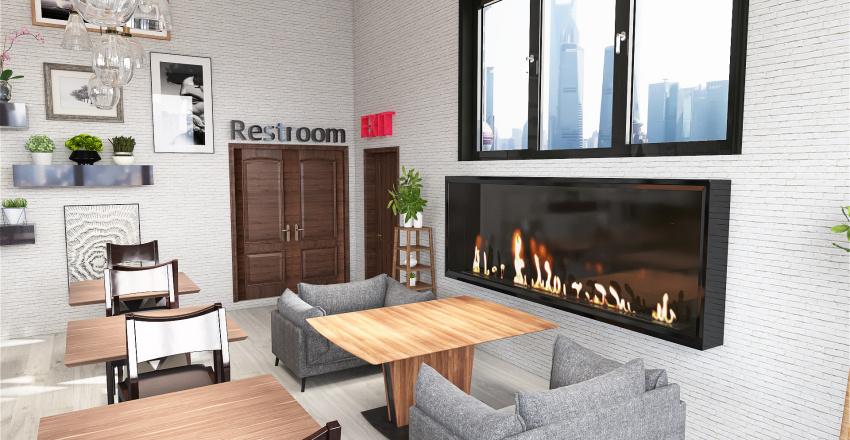 Modern Cafe Interior Design Render