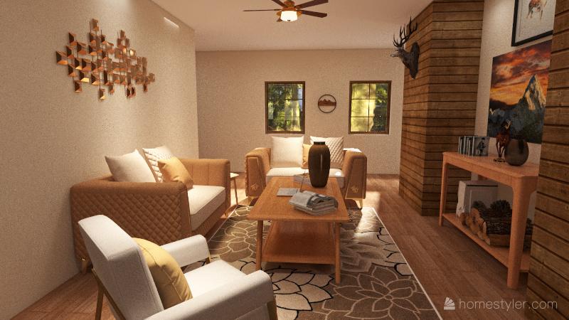 College Country Apartment Interior Design Render