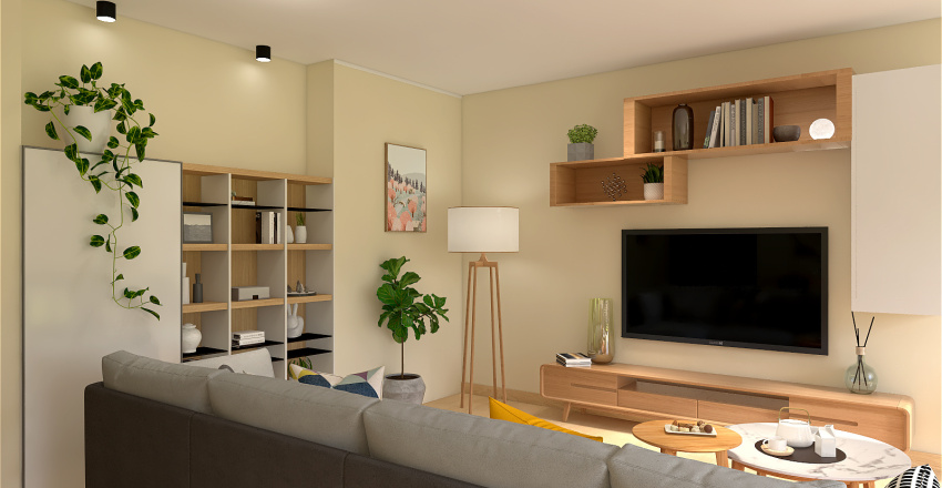 Scandinavian Living Room Interior Design Render