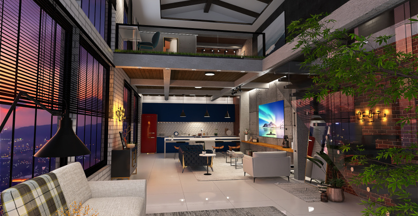 Loft descolado Interior Design Render