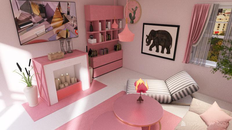 Pink Living Room Wonderland Interior Design Render