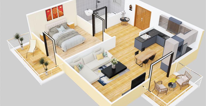 fifth 3d floor plan Interior Design Render