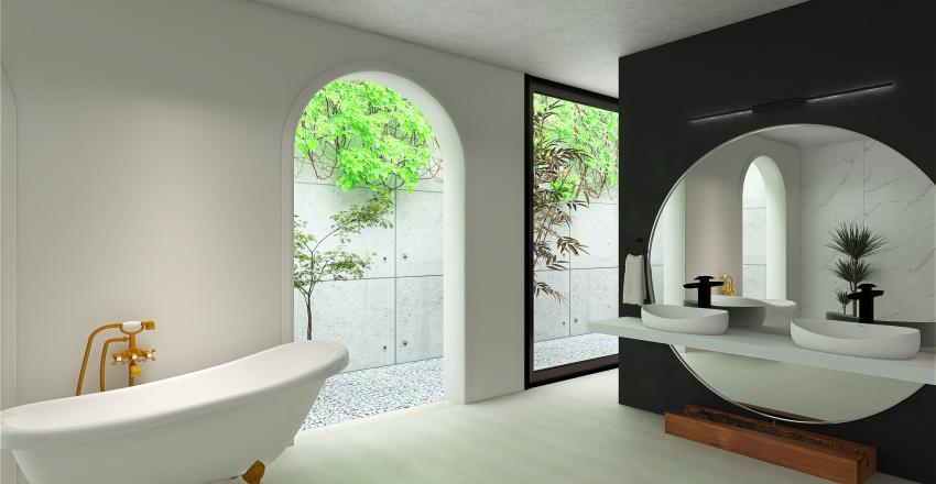 Quarto moderno com banheiro integrado Interior Design Render