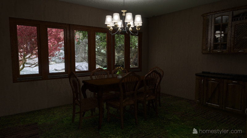 Old fashioned small home Interior Design Render
