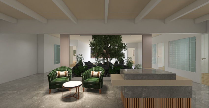 marble sat with white ceiling Interior Design Render